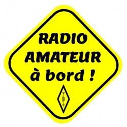 """Autocollant fluo """"radio amateur à bord !"""" Passion Radio Autocollants AUTOCOLLANT-HAM2-919"""